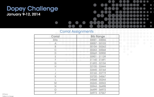 Dopey Challenge Corral Assignments