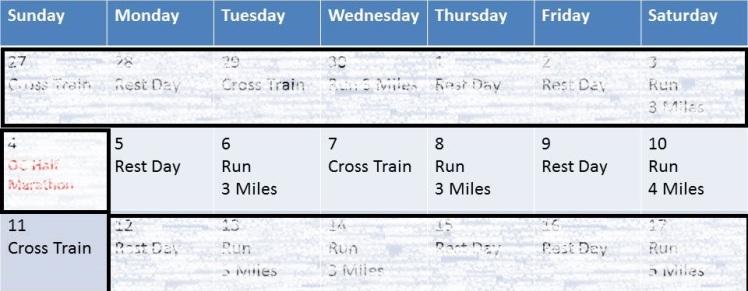 Training Calendar for DDD Week 1