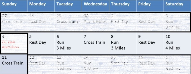Training Calendar for DDD Week 1