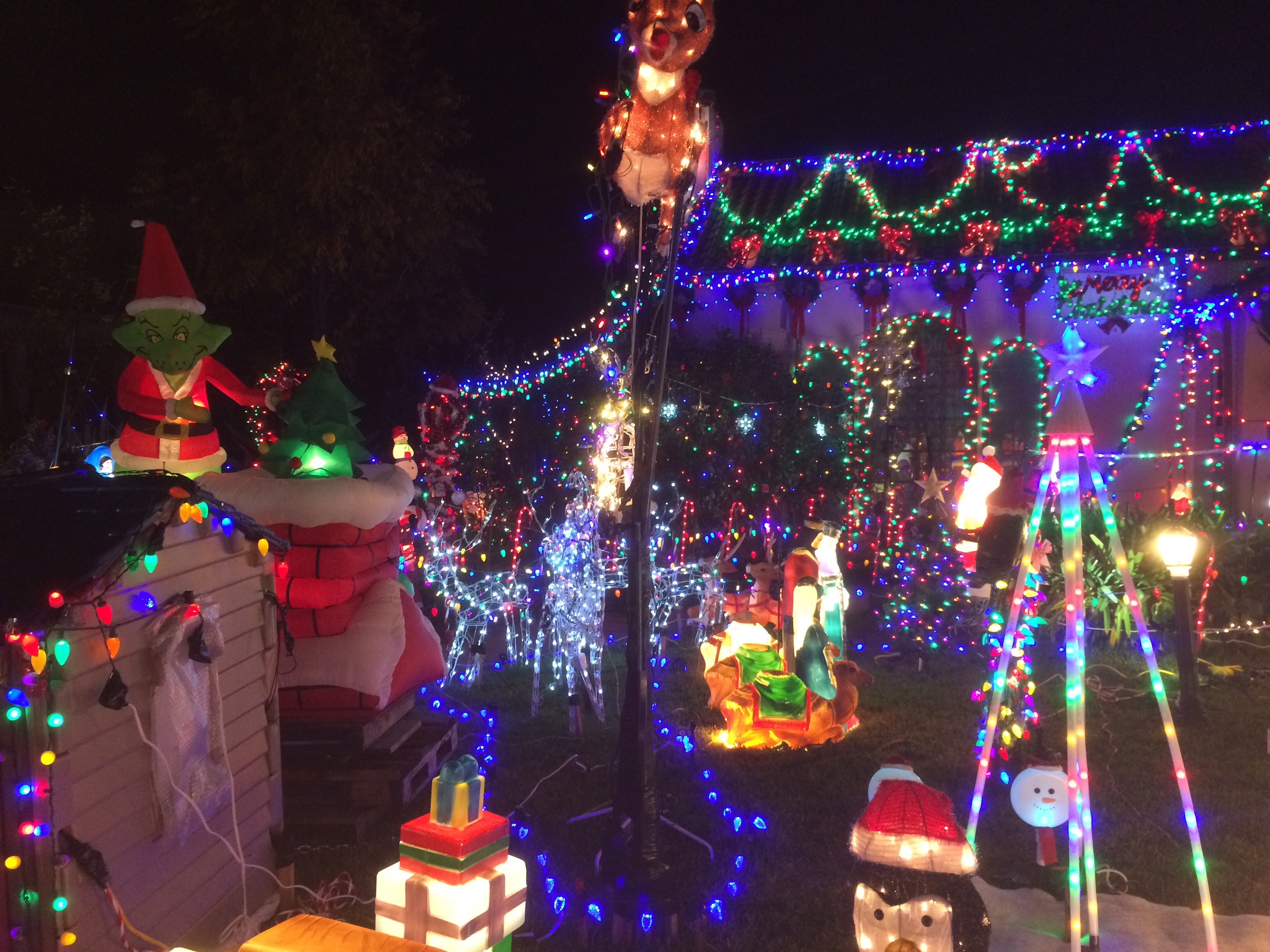 Christmas decorated houses in pasadena