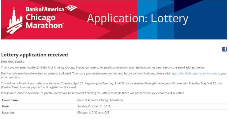 Chicago Marathon Lottery Entry