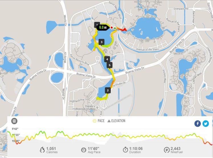 EPCOT to DHS 6 Mile Run