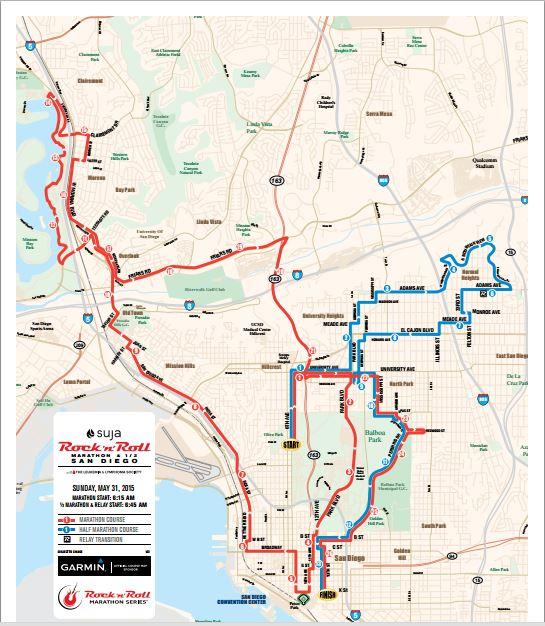 RnRSD Marathon and Half Marathohn Course