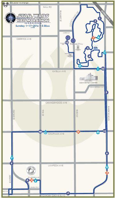Star Wars Half Marathon Map