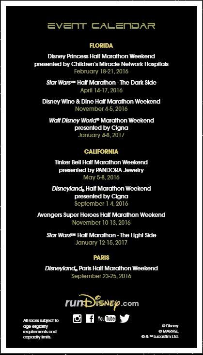 Star Wars Run Disney Event Calendar