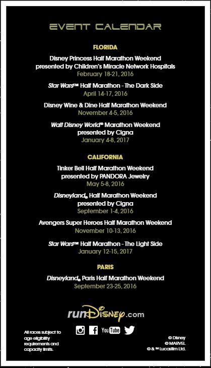Star Wars Run Disney Event Calendar