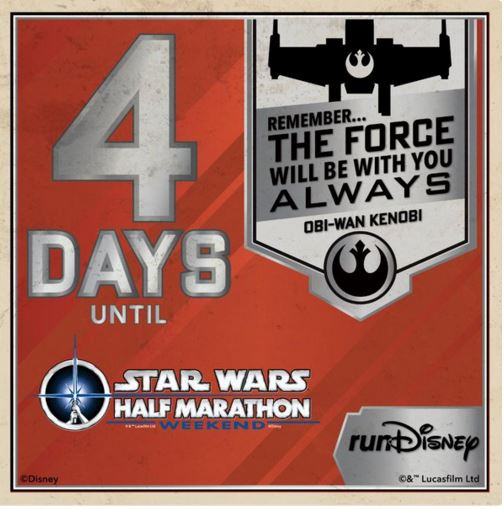 Star Wars Half Marathon Countdown 4 Days