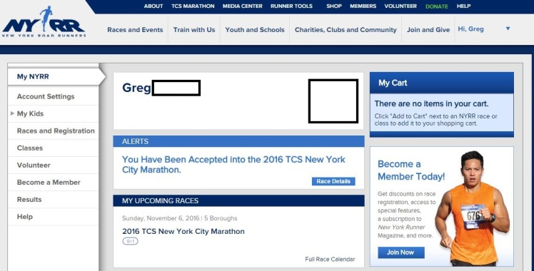 NYC NYRR Acceptance
