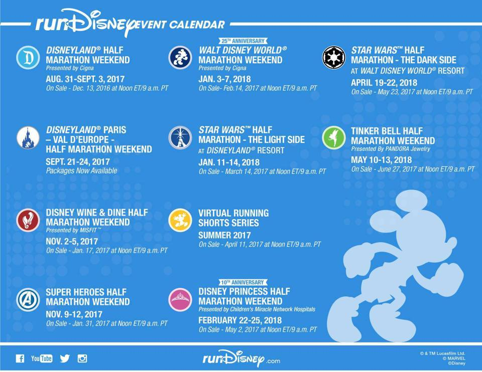 Run Disney 2017 – 2018 Race Calendar Has Been Released with Early
