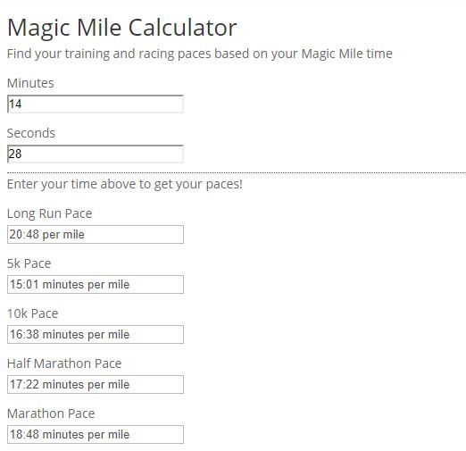 November 2018 Magic MIle Calculation