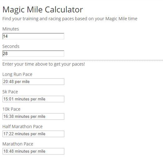 November 2018 Magic MIle Calculation